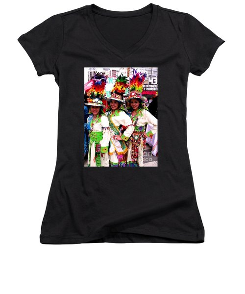 Bolivian University Student Dancers 1 Women's V-Neck T-Shirt