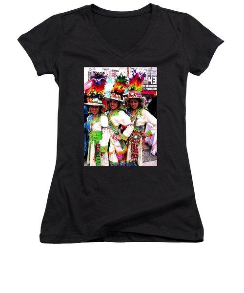 Bolivian University Student Dancers 1 Women's V-Neck (Athletic Fit)