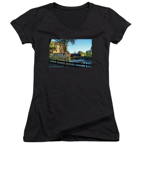 Women's V-Neck T-Shirt (Junior Cut) featuring the photograph Bollinger Mill And Bridge by Cricket Hackmann