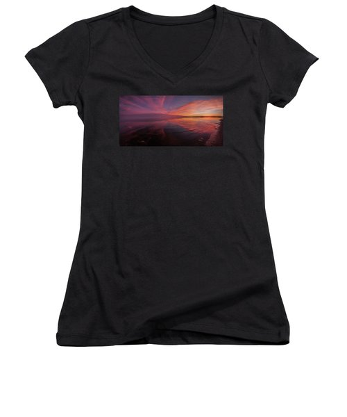 Bombay Beach Women's V-Neck T-Shirt (Junior Cut) by Ralph Vazquez