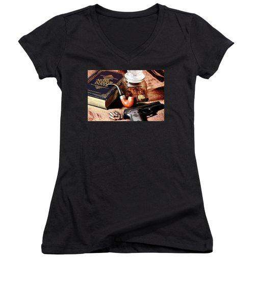 Books And Bullets Women's V-Neck T-Shirt