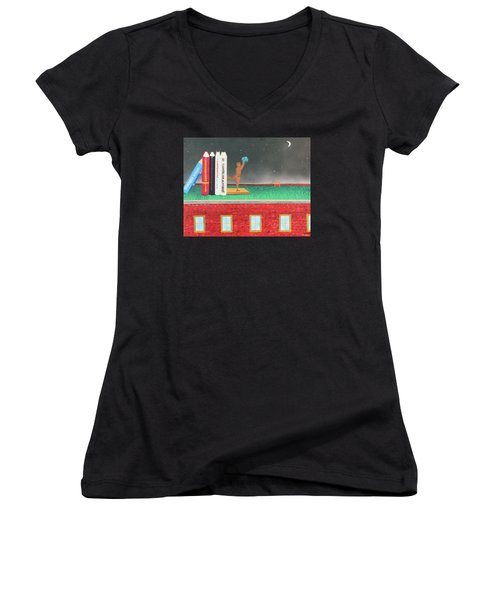 Books Of Knowledge Women's V-Neck T-Shirt (Junior Cut)