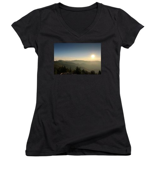 Boone Nc Area Sunset Women's V-Neck (Athletic Fit)