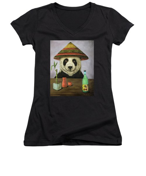 Women's V-Neck T-Shirt (Junior Cut) featuring the painting Boozer 4 by Leah Saulnier The Painting Maniac