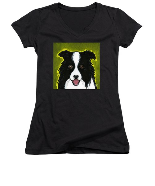 Border Collie Women's V-Neck (Athletic Fit)