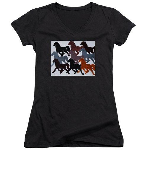 Born Free Women's V-Neck T-Shirt (Junior Cut) by Joseph Frank Baraba