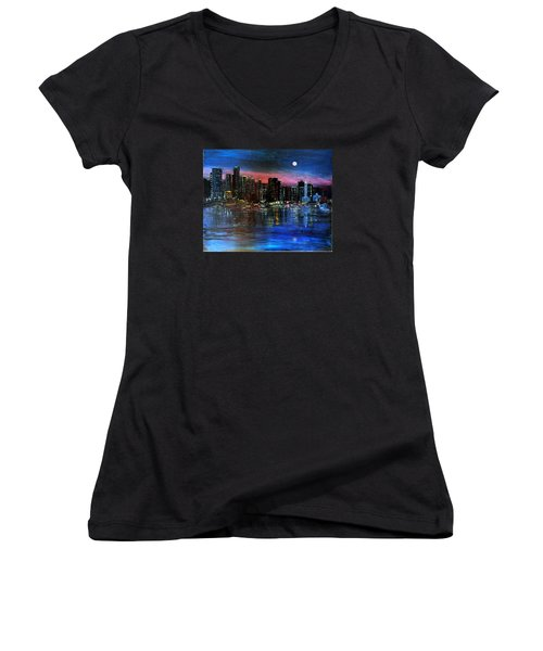 Boston At Night Women's V-Neck
