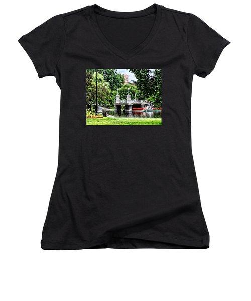Boston Ma - Boston Public Garden Bridge Women's V-Neck T-Shirt (Junior Cut) by Susan Savad