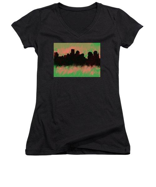 Boston Skyline Green  Women's V-Neck T-Shirt (Junior Cut) by Enki Art