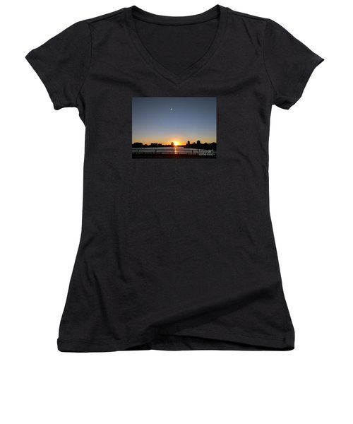 Women's V-Neck T-Shirt (Junior Cut) featuring the photograph Boston Skyline Sunset   by Haleh Mahbod