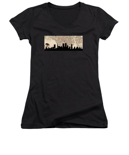 Boston Skyline Vintage Women's V-Neck T-Shirt (Junior Cut) by Andrew Fare