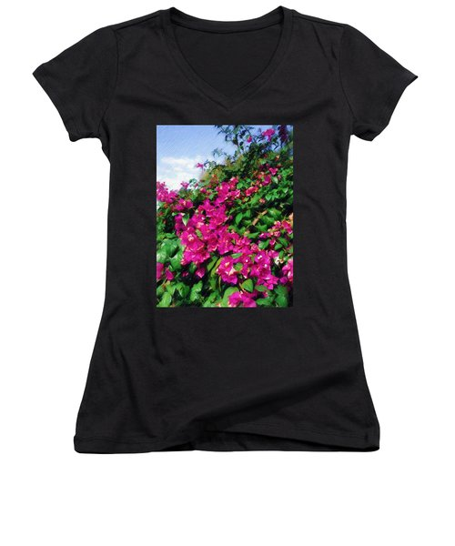 Bougainvillea Women's V-Neck T-Shirt (Junior Cut) by Sandy MacGowan