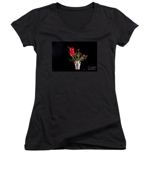 Bouquet In Red Women's V-Neck T-Shirt (Junior Cut) by Torbjorn Swenelius