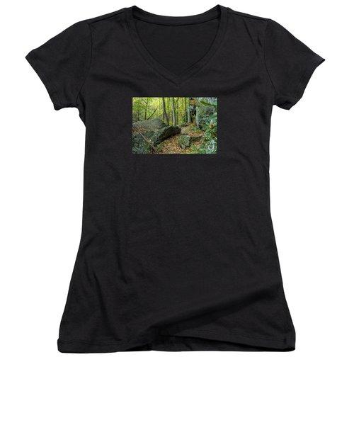 Boulders On The Bear Hair Gap Trail Women's V-Neck T-Shirt