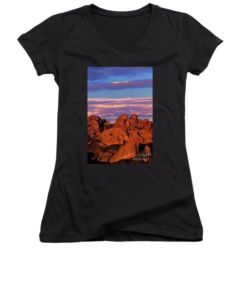 Women's V-Neck featuring the photograph Boulders Sunset Light Pinnacles National Park Californ by Dave Welling