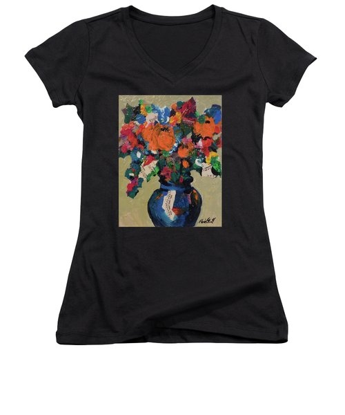 Women's V-Neck T-Shirt (Junior Cut) featuring the painting Bouquet-a-day #8 Original Mixed Media Painting On Canvas 70.00 Incl Shipping By Elaine Elliott by Elaine Elliott