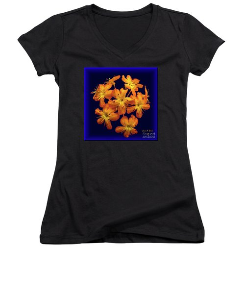 Women's V-Neck T-Shirt (Junior Cut) featuring the digital art Bouquet In A Box by Donna Brown