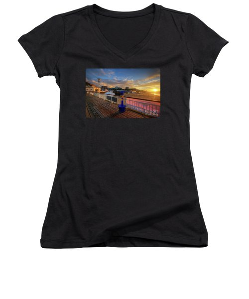 Women's V-Neck T-Shirt (Junior Cut) featuring the photograph Bournemouth Pier Sunrise by Yhun Suarez