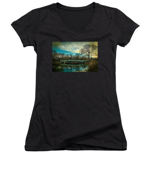 Women's V-Neck T-Shirt (Junior Cut) featuring the photograph Bow Bridge Reflection by Chris Lord