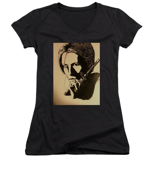 Bowie's Got A Gun Women's V-Neck T-Shirt