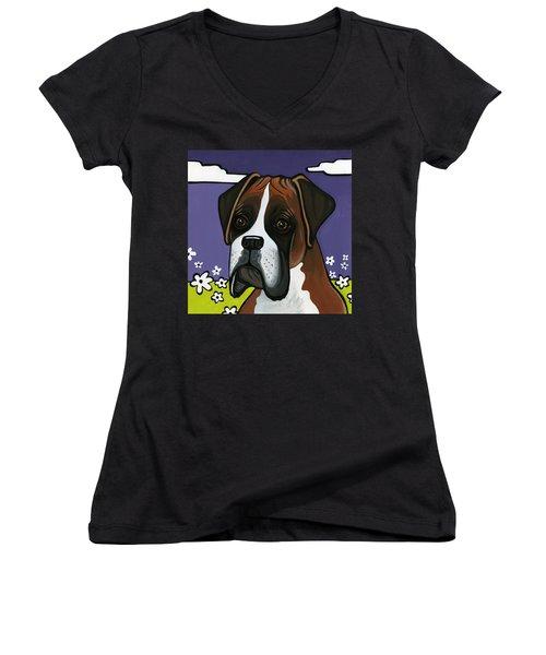 Boxer Women's V-Neck T-Shirt
