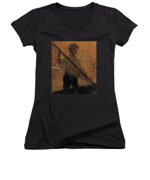 Women's V-Neck T-Shirt (Junior Cut) featuring the painting Boy In A Punt by Henry Scott Tuke