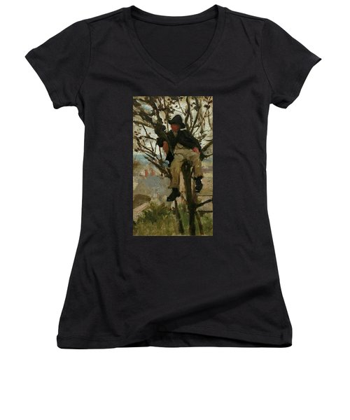 Women's V-Neck T-Shirt (Junior Cut) featuring the painting Boy In A Tree by Henry Scott Tuke