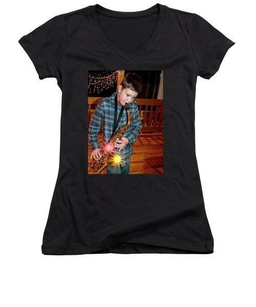 Boy Playing The Saxophone Women's V-Neck (Athletic Fit)
