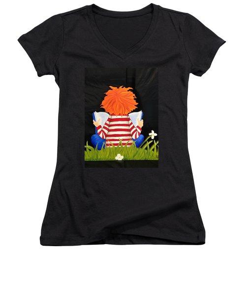 Boy Reading Book Women's V-Neck T-Shirt (Junior Cut) by Brenda Bonfield