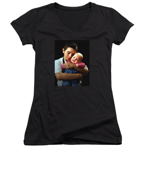 Boy With Bald-headed Baby Women's V-Neck T-Shirt (Junior Cut) by RC deWinter