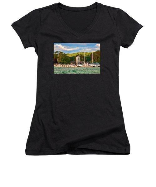 Boyne City Marina Women's V-Neck T-Shirt