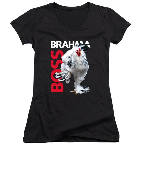 Brahma Boss T-shirt Print Women's V-Neck (Athletic Fit)