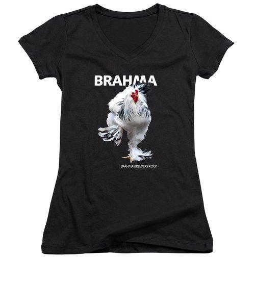 Brahma Breeders Rock T-shirt Print Women's V-Neck (Athletic Fit)