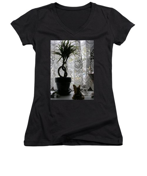 Braided Dracena On Sill Women's V-Neck