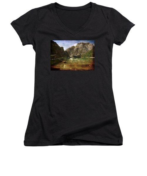 Braies Lake Women's V-Neck T-Shirt (Junior Cut) by Vittorio Chiampan