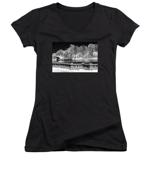 Women's V-Neck T-Shirt (Junior Cut) featuring the photograph Branch Brook Park New Jersey Ir by Susan Candelario