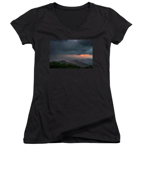Women's V-Neck featuring the photograph Brasstown Bald Sunset by Michael Sussman