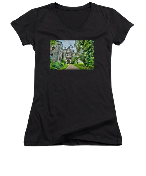 Women's V-Neck T-Shirt (Junior Cut) featuring the photograph Braunfels Castle by David Morefield