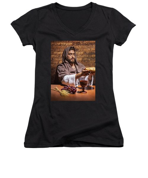 Women's V-Neck T-Shirt (Junior Cut) featuring the painting Bread Of Life by Karen Showell