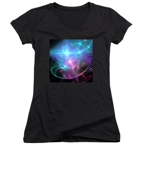 Women's V-Neck T-Shirt (Junior Cut) featuring the digital art Breaking Through The Portal by Svetlana Nikolova