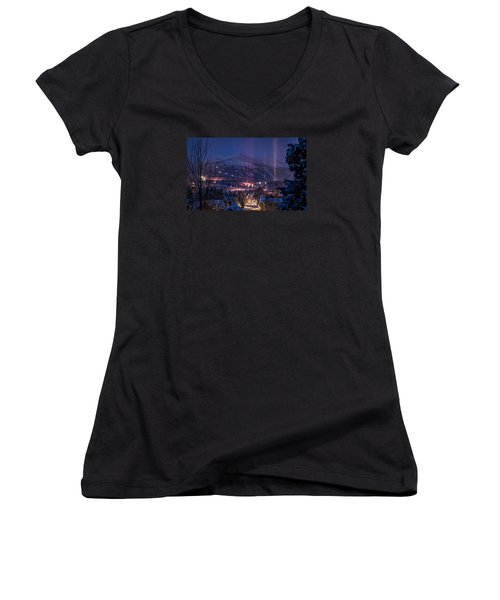 Breckenridge Phenomenon Women's V-Neck T-Shirt (Junior Cut) by Michael J Bauer
