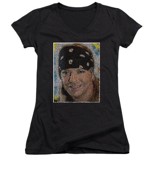 Women's V-Neck T-Shirt (Junior Cut) featuring the mixed media Bret Michaels Poison Bottle Cap Mosaic by Paul Van Scott