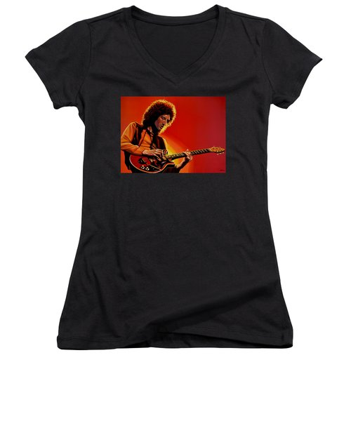Brian May Of Queen Painting Women's V-Neck T-Shirt (Junior Cut) by Paul Meijering