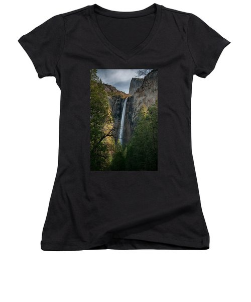 Bridal Veil Falls Women's V-Neck T-Shirt (Junior Cut) by Ralph Vazquez