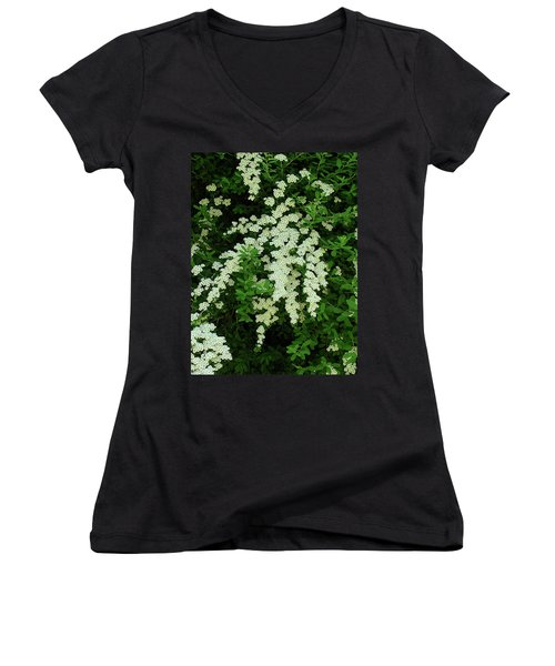 Bridal Wreath Women's V-Neck T-Shirt (Junior Cut) by Shirley Heyn