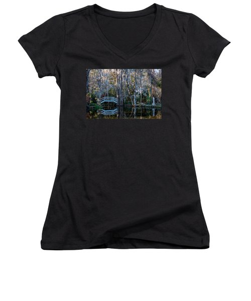 Bridge And Statue At Magnolia Plantation Gardens Women's V-Neck (Athletic Fit)