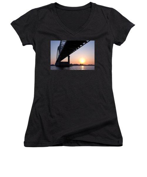 Bridge Over Mississippi River Women's V-Neck (Athletic Fit)