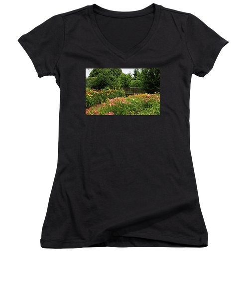 Women's V-Neck T-Shirt (Junior Cut) featuring the photograph Bridge In Daylily Garden by Sandy Keeton