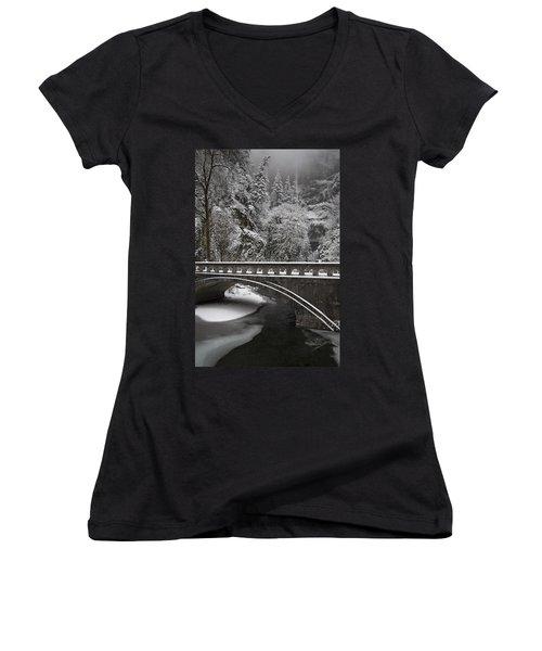 Bridges Of Multnomah Falls Women's V-Neck T-Shirt