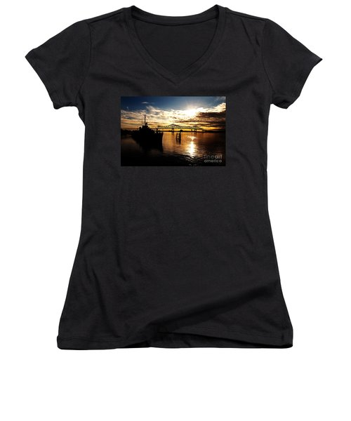 Bright Time On The River Women's V-Neck (Athletic Fit)